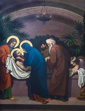 Jesús es puesto en la tumba